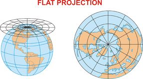 Eine Weltflache Projektionskarte Stockfotos