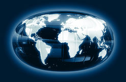 Eine Weltkarte - glattes Glühen f1s Stockfotos