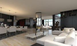 Moderner Wohnzimmerinnenraum | Entwurfs-Dachboden Stockfotografie