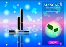 Eine Wimperntuschenanzeige mit einem schönen Hintergrund und Blättern, lizenzfreie stockfotografie