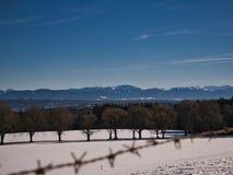 Eine Winterlandschaft am See Starnberg lizenzfreies stockbild