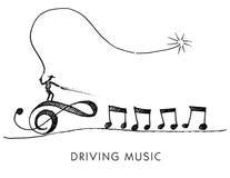 Eine wunderliche Karikatur genannt Fahren von Musik Lizenzfreie Stockbilder