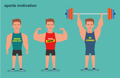 Eine Zeichentrickfilm-Figur, ein starker Mann, der Athlet Sportmotivation Flache Illustration Stockfotos