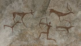 Eine Zeichnung in einer Tierhöhle durchgeführt stockfotos