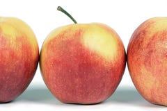 Eine Zeile der roten Äpfel. Stockfotografie
