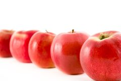 Eine Zeile der roten Äpfel Lizenzfreie Stockfotografie