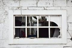 Eine zerbrochene Fensterscheibe in einem verlassenen Gebäude durch die Seite der Straße im Weiß Stockfoto