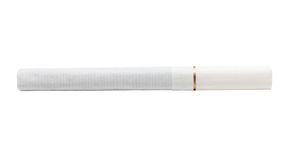 Eine Zigarette mit weißer Farbe des Filters lokalisiert auf Weiß Lizenzfreie Stockfotos