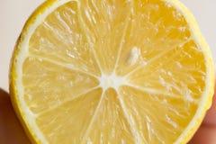 Eine Zitrone geschnitten auf Holztisch Lizenzfreie Stockbilder