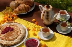 Eine Zusammensetzung im Freien mit Teeschalen, einem Teetopf, einer Platte von Pfannkuchen, Gebäck, reifer Frucht und Feld blüht  Stockfoto