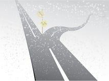 Eine Zweiwegstraße mit geradem Weg und curvy Weg mit Richtungen in verschneiten Winter würzen für Vergleich lizenzfreie abbildung