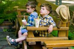 Eineiige Zwillinge nehmen ein Getränk Stockbilder