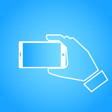 Einem selfie Foto flaches Design nehmen Lizenzfreies Stockfoto