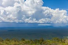 Einem tropischen Regensturm schnell sich nähern überschreitet durch den Regenwald Lizenzfreies Stockfoto