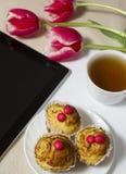 Einen Snack morgens für das Mädchen essen Lizenzfreie Stockbilder