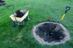 Einen toten Baum für Abbau in einen Garten heraus graben stockfotografie