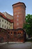 Einer der hohen Türme des Wawel-Schlosses Stockbilder