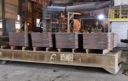 In einer Gießerei arbeiten, Pirdop, Bulgarien, Nov., 5, 2015 Lizenzfreies Stockfoto