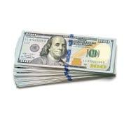 In einer Liste verzeichneter Stapel von 100 Dollar Lizenzfreie Stockbilder