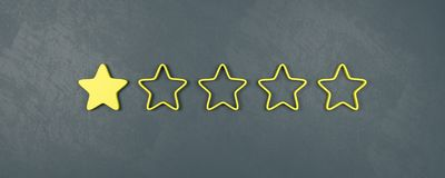 Einer von fünf veranschlagenden Sternen, sehr schlechte veranschlagende Konzepte lizenzfreie abbildung