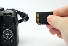 Einfügung von Sd-Karte in eine DSLR-Kamera Lizenzfreie Stockfotos