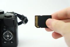 Einfügung von Sd-Karte in eine DSLR-Kamera Lizenzfreie Stockfotografie