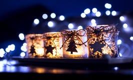 Einführung, vier Kerzen verziert Stockfotografie