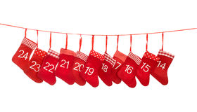 Einführungskalender 14-24 Rote Weihnachtsstrumpfdekoration Stockfoto