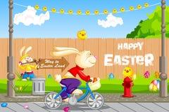 Osterhasenradfahren Lizenzfreie Stockfotos