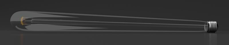 Einfach lange Glühlampe auf schwarzem Hintergrund - Illustration 3d Stock Abbildung