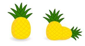 Einfache Ananasikone, Version mit einzelnem und zwei Früchte stockfotos