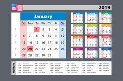 Einfache Anfänge Montag des Kalenders des Vektors 2019 - ein Jahr auf einen Blick - mit gesetzlichen Feiertagen für die USA Lizenzfreie Stockfotos