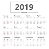 Einfache Art des Kalenders 2019 Vektor auf weißem Hintergrund Woche beginnt Sonntag stock abbildung