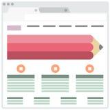 Einfache Browser Window mit Bleistift Stockfotos