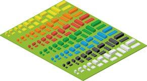 Einfache bunte Ziegelsteine des Kinderziegelstein-Spielzeugs auf grüner Auflage stock abbildung