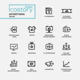 Einfache dünne Linie Designikonen, Piktogramme der modernen Werbung eingestellt lizenzfreie abbildung