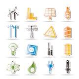 Einfache Elektrizitäts-, Leistung- und Energieikonen Stockbild