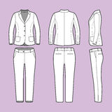 Einfache Entwurfszeichnung eines Blazers und der Hosen stock abbildung