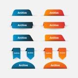 Einfache Fahnen-Sammlungs-Schablone in Blauem und in Orange lizenzfreie abbildung
