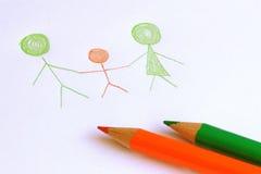 Einfache Familien-Zeichnung Stockfotografie
