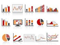 Einfache Farben-Finanzverwaltung berichtet über Ikone Stockbilder