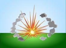 Einfache farbige Explosion mit cloudlets Vektor Abbildung