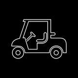 Einfache flache Vektorillustration der Golfautoikone Stockfotos