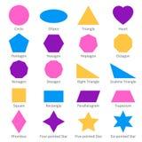 Einfache geometrische 2d Formen Schulgeometrie-Vektordiagramm Stockfotografie