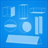 Einfache geometrische Formen auf Planhintergrund Lizenzfreies Stockbild