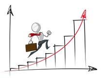 Einfache Geschäftsleute - Diagramm des exponentiellen Wachstums Lizenzfreies Stockfoto