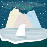 Einfache grafische Illustration in der modischen flachen Art mit weißem Eisbären und Eis auf dem sternenklaren Himmelhintergrund  Stockfoto