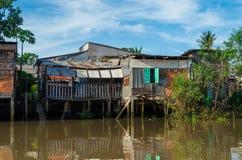 Einfache Häuser im der Mekong-Delta, Vietnam Lizenzfreie Stockfotos