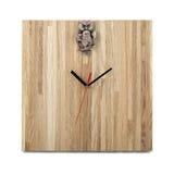 Einfache hölzerne Wanduhr mit Eule - quadratische Uhr lokalisiert Stockbilder