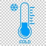 Einfache Ikone, flüssiger Thermometer, kalt am transparenten Effekthintergrund vektor abbildung